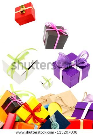 Holiday gifts isolate white background - stock photo