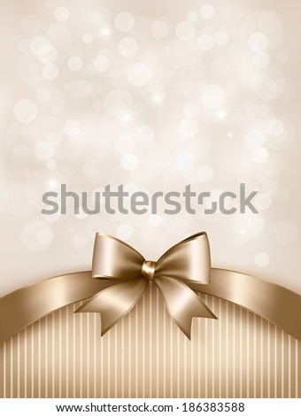 Holiday gold background with gift glossy bow and ribbon. Raster version