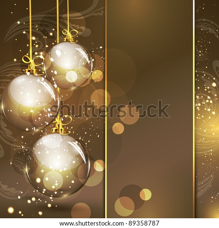 Holiday gold background with golden glass balls (JPEG version) - stock photo