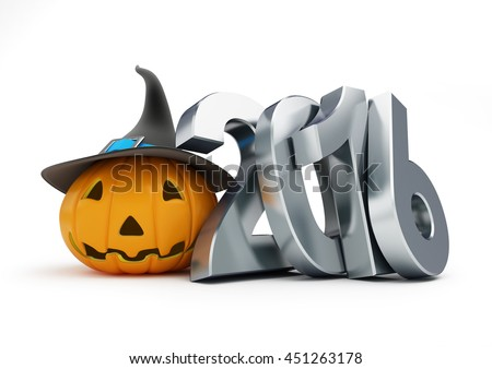 holiday halloween in 2016. 3d Illustrations on a white background - stock photo