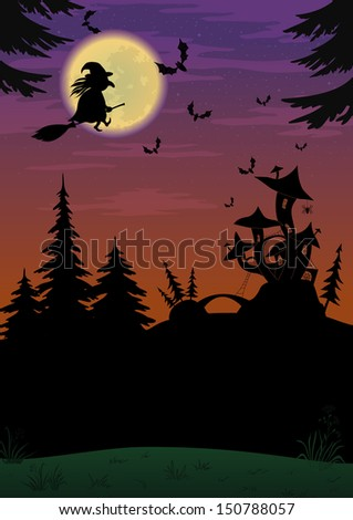 Holiday Halloween night landscape with witch and magic Castle - mushroom. Elements of this image furnished by NASA