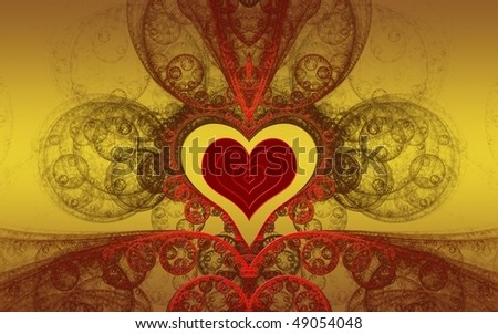 Holiday illustration - red heart on abstract gold fractal background for wedding / Valentine day - stock photo