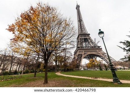 Holiday in France - Eiffel Tower during winter Christmas - stock photo