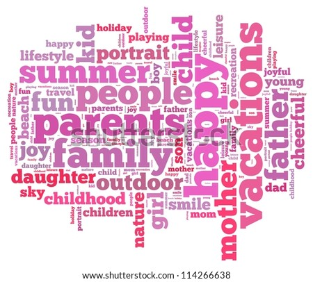 Holiday info-text graphics and arrangement concept on white background (word cloud) - stock photo