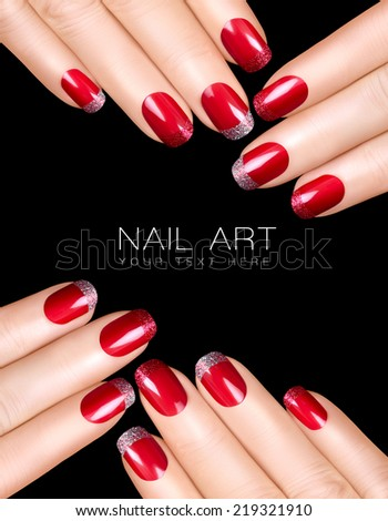 Holiday Nail Art Luxury Polish With Glitter French Manicure In Silver And Red