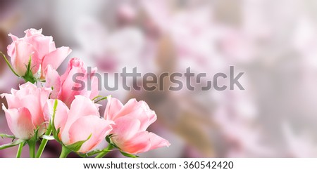 Holiday nature background with beautiful flowers, floral border