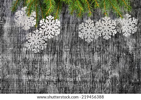 holiday  New Year's and Christmas background from branches  fir  decoration toys - stock photo