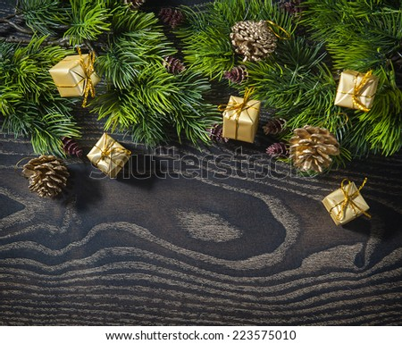 holiday New Year's and Christmas background from branches fir decoration toys. - stock photo