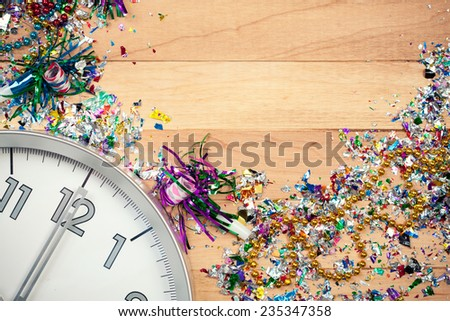 Holiday: New Year's Eve Background with Clock - stock photo