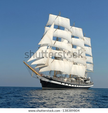 holiday on a sailing ship - stock photo