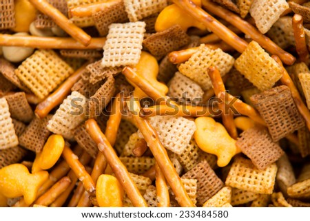 Holiday Party Food Mix - This is a close up shot of a Chex party mix containing cereal, crackers and pretzels.  - stock photo