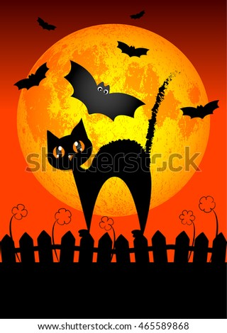 Holiday placard for Halloween. Black cat on fence on background of big moon. Trick or treat. Moon furnished by NASA. Raster illustration