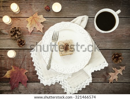 Holiday Pumpkin Cake Bread Dessert on Rustic Wood - stock photo