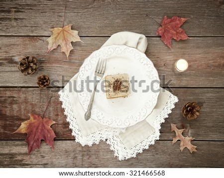 Holiday Pumpkin Cake Bread Dessert on Rustic Wood viewed from above - stock photo