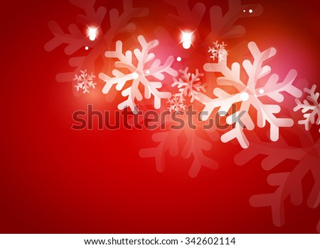 Holiday red abstract background, winter snowflakes, Christmas and New Year design template, light shiny modern illustration - stock photo