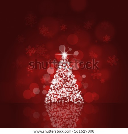 holiday red background with xmas tree and bokeh lights - stock photo