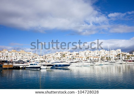 Holiday resort of Puerto Banus on Costa del Sol in Spain, southern Andalucia region, Malaga province. - stock photo