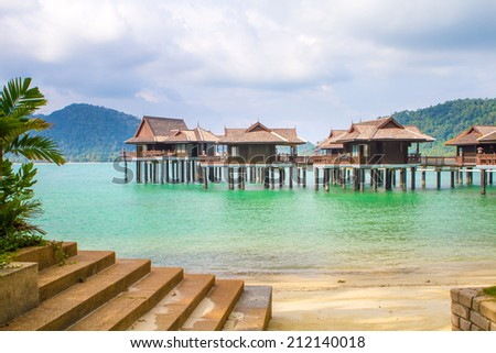 Holiday resort with water chalets