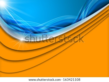 Holiday Sea Abstract Background / Blue and orange abstract background with stylized waves and sunlight, concept of summer vacations - stock photo