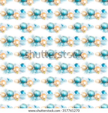 Holiday seamless background with Christmas fir tree decoration isolated on white background. Holiday composition. Festive background. Good for wallpaper, fabric, wraps, cover, banner, poster. - stock photo