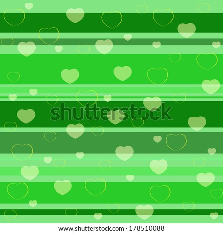 Holiday seamless pattern with hearts on a green background with lines