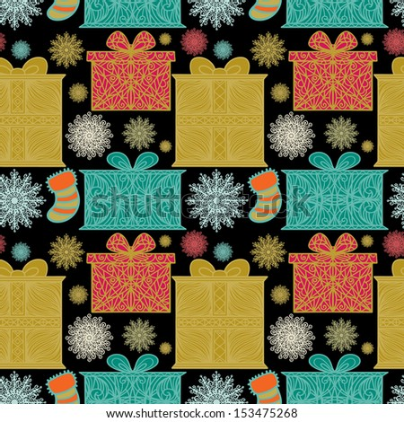 Holiday seamless pattern with snowflakes, gift boxes  and christmas socks - raster version - stock photo