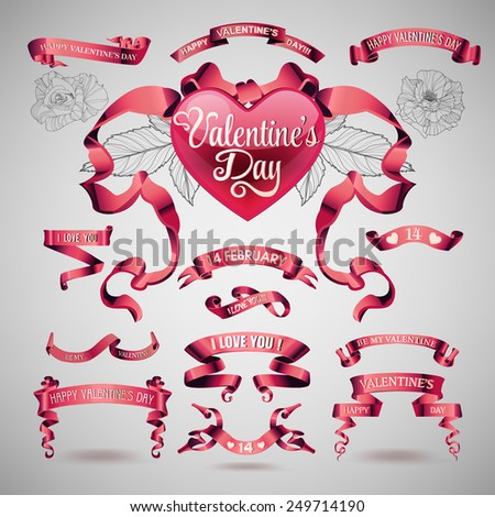 Holiday set of valentines day banners and ribbons - stock photo