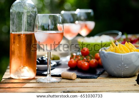 Holiday Summer Brunch Party Table Outdoor In A House Backyard With Appetizer Glass Of Rose