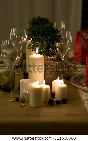 Holiday table setting - stock photo