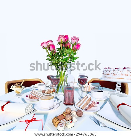 Holiday table setting in white color.