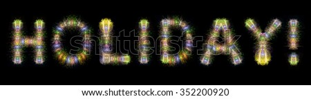 Holiday text written with Colorful Sparkling Fireworks over black sky / background