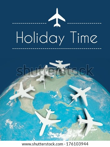 Holiday time travel concept, airplanes on globe - stock photo