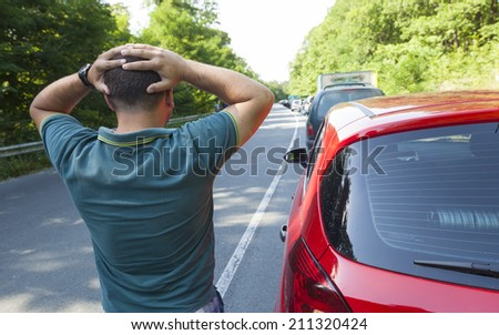 Holiday traffic jam - stock photo