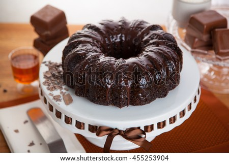 Holiday treat dessert chocolaty rich double chocolate cake entire whole serving - stock photo
