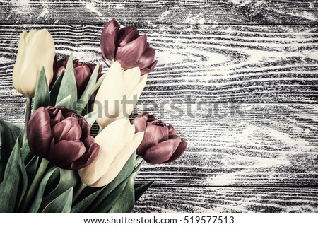 Holiday Valentines day card with tulip flowers, floral background