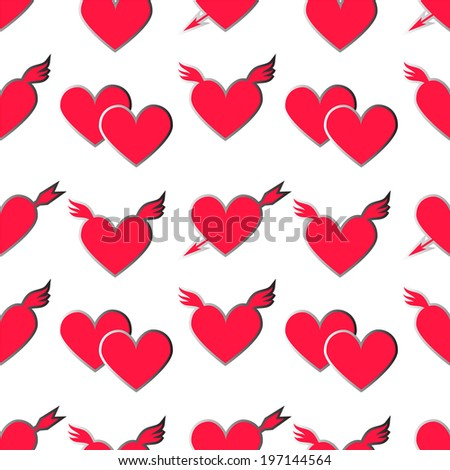 Holiday Valentines day seamless pattern with hearts on a white background - raster version - stock photo