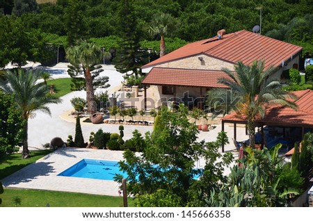 Holiday villa with a swimming pool in Cyprus - stock photo