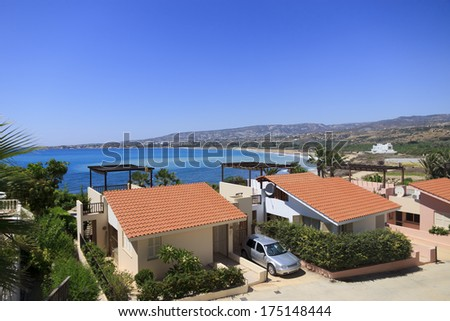 Holiday villas by the sea, Coral bay, Paphos, Cyprus - stock photo