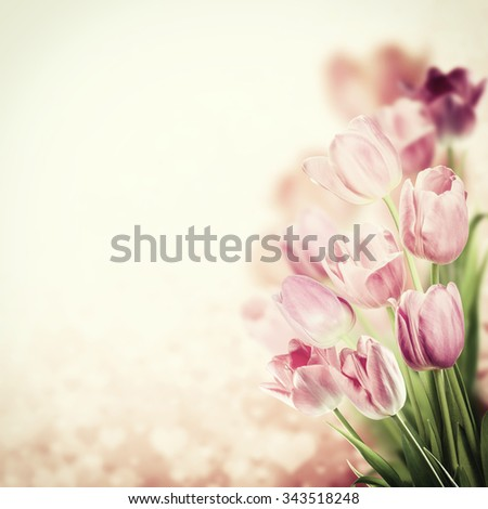 Holiday vintage background with lovely flowers - stock photo