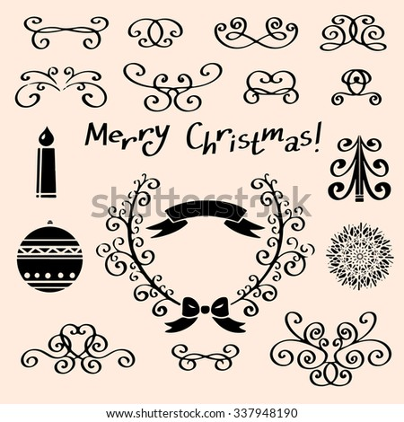 Holiday vintage Christmas design elements, snowflakes, balls, burning candle, frame, ribbon, bow, vignettes, ornaments. Text Merry Christmas isolated - stock photo
