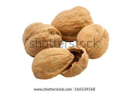 Holiday walnuts in a group isolated