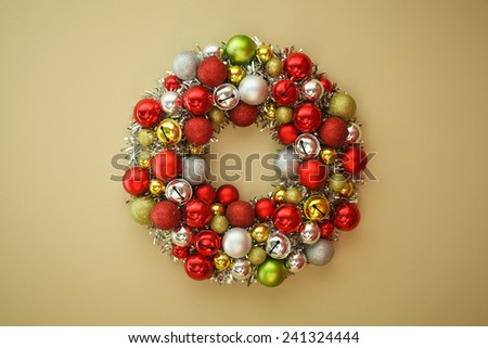 holiday wreath made from ornaments - stock photo