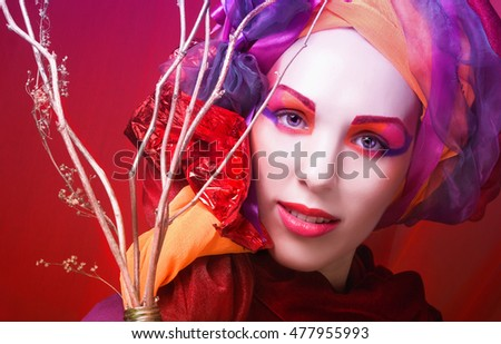 Holiday. Young woman with artistic visage posing with brunch