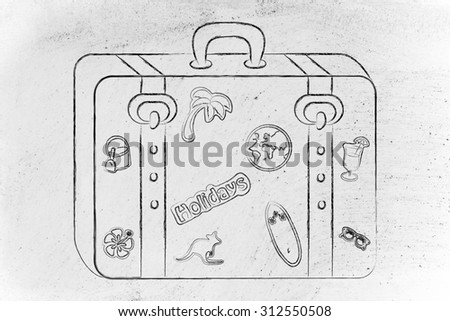holidays and vacation: baggage with mixed summer holiday inspiration stickers - stock photo