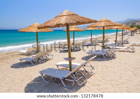 Holidays at Aegean Sea of Crete, Greece - stock photo