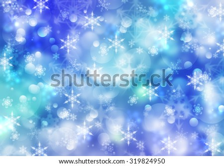 Holidays beautiful wallpaper with bokeh effect and blurred defocused snowflakes. Holiday greeting card concept. Magic Christmas lights sparkling snow background. Elegant blue winter Holiday postcard. - stock photo