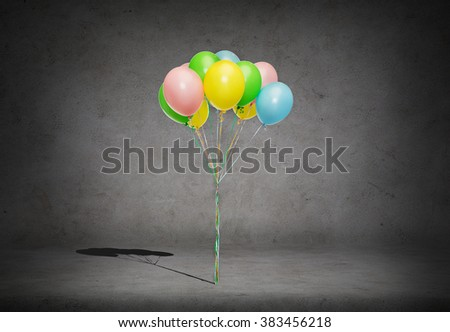 holidays, birthday and party concept - bunch of colorful helium balloons on strand over concrete room background - stock photo