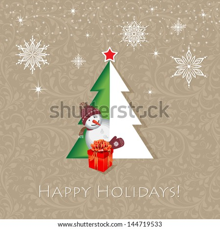 Holidays concept. A half-tree shaped door opened creating an illusion of full shape Christmas tree. Smiling snowman offers a gift.