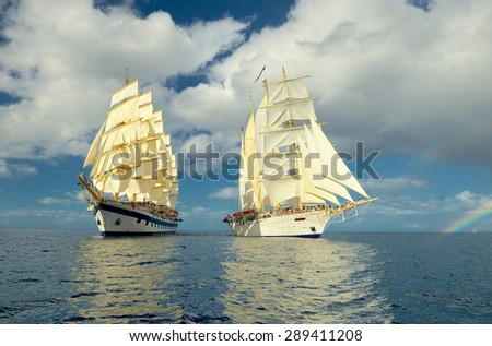 Holidays. Cruise on a sailing ship - stock photo
