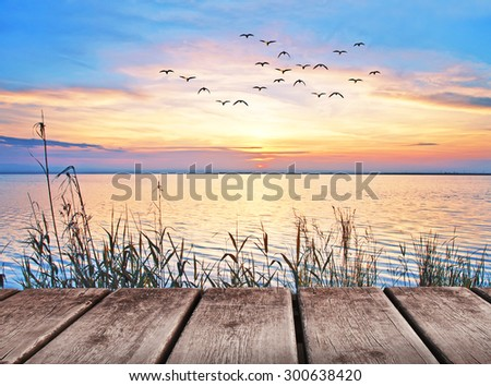 holidays in the lake - stock photo